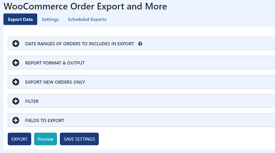 Order Export Main Screen