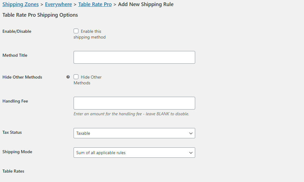 Basic Shipping Settings