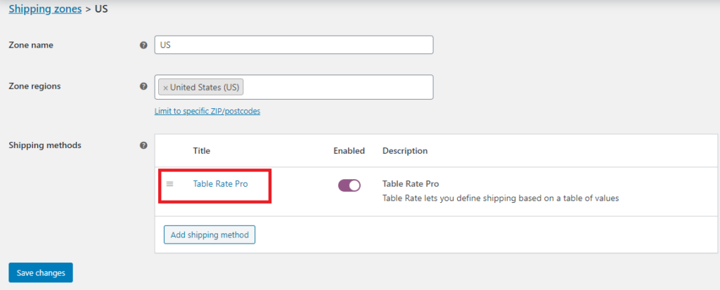 Table Rate Pro Shipping Method Added