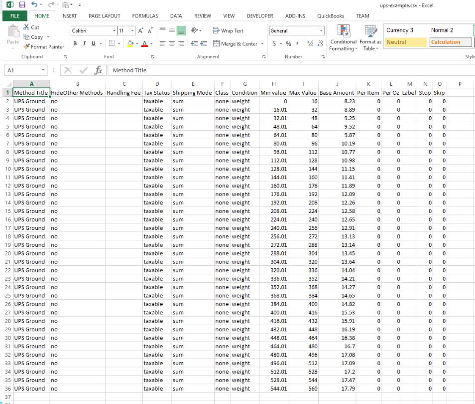 UPS Example CSV File