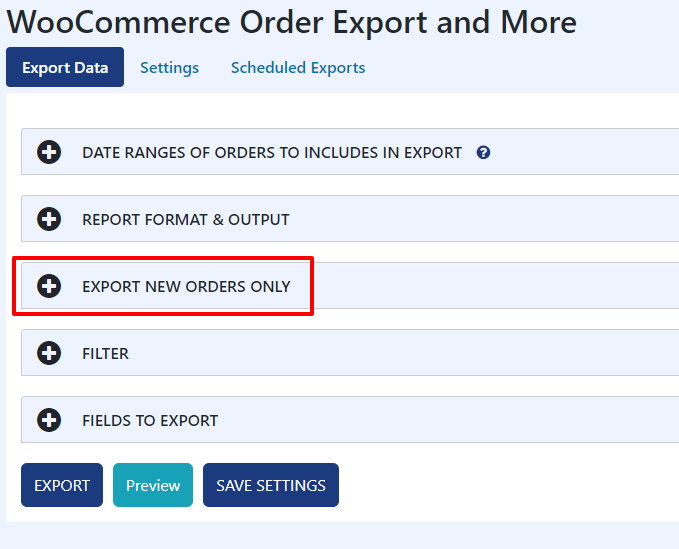 Export New Orders Only