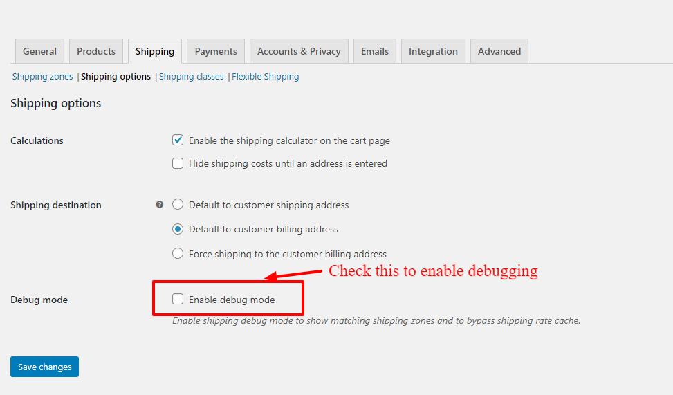 WooCommerce Shipping debug Mode